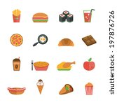 fast junk food icons flat set... | Shutterstock . vector #197876726