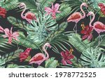tropical flowers  palm leaves ...   Shutterstock .eps vector #1978772525