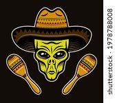 Alien Head In Sombrero And Two...