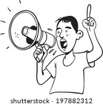man shouting with megaphone   Shutterstock .eps vector #197882312