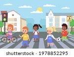 kids walking crosswalk.... | Shutterstock .eps vector #1978852295