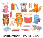 cute animals with books. animal ... | Shutterstock .eps vector #1978872422
