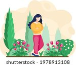 Girl Gardening Plants On...
