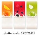three fruit and milk labels. v | Shutterstock . vector #197891495