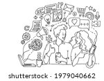 man and woman working with... | Shutterstock .eps vector #1979040662