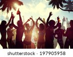 young people celebrating by the ... | Shutterstock . vector #197905958