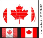 set scratched flag of canada on ... | Shutterstock . vector #197908706