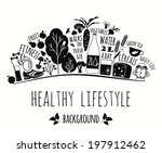 healthy lifestyle background | Shutterstock .eps vector #197912462