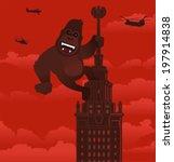 Vector gorilla on a skyscraper