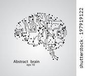circuit board brain eps 10 ... | Shutterstock .eps vector #197919122