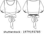 vector woman round neck blouse... | Shutterstock .eps vector #1979193785
