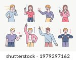 people are pointing their... | Shutterstock .eps vector #1979297162