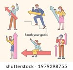 people holding arrow signs are... | Shutterstock .eps vector #1979298755