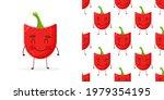 seamless pattern paprika shaped ...   Shutterstock .eps vector #1979354195
