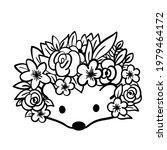 cute hedgehog with flowers.... | Shutterstock .eps vector #1979464172