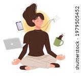 female office workers practice...   Shutterstock .eps vector #1979505452