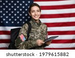 Female Cadet With Backpack And...