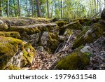 Moss Covered Rock Formation In...