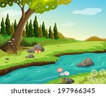 illustration of a river at the... | Shutterstock .eps vector #197966345
