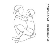 one line drawing. father holds... | Shutterstock .eps vector #1979792522