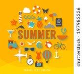 summer flat design illustration  | Shutterstock .eps vector #197983226