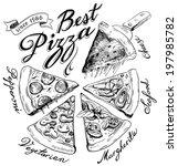 hand drawn pizza illustration  | Shutterstock .eps vector #197985782