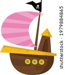 pirate ship on a white...   Shutterstock .eps vector #1979884865