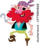a funny pirate with a wooden...   Shutterstock .eps vector #1979884868