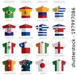 soccer flag shirts on hangers... | Shutterstock .eps vector #197997086