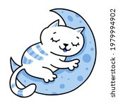 cute white cat sleeping on the... | Shutterstock .eps vector #1979994902