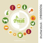 healthy food and farm fresh... | Shutterstock .eps vector #198000056
