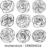 set of rose vector on white... | Shutterstock .eps vector #198004016