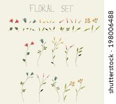 vector flower set  | Shutterstock .eps vector #198006488