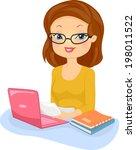 illustration of a female editor ... | Shutterstock .eps vector #198011522