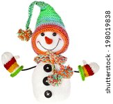 happy snowman in knitted hat... | Shutterstock . vector #198019838