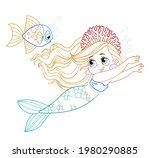 cute little mermaid girl in... | Shutterstock .eps vector #1980290885