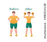 fat on belly. tummy before and... | Shutterstock .eps vector #1980314138