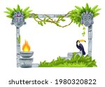 stone vector jungle frame  old...