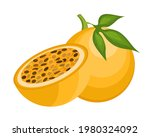 yellow passion fruit with slice ... | Shutterstock .eps vector #1980324092