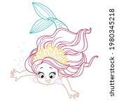 cute little mermaid girl in... | Shutterstock .eps vector #1980345218