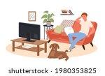 young man watching tv news ...   Shutterstock .eps vector #1980353825