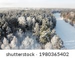 Winter Landscape   Frozen River ...