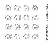 real estate related icons  thin ... | Shutterstock .eps vector #1980387662