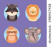 animals raccoon lion elephant...   Shutterstock .eps vector #1980417428
