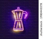 geyser coffee maker neon sign....   Shutterstock .eps vector #1980443378