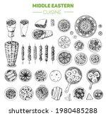 arabic food hand drawn elements.... | Shutterstock . vector #1980485288