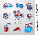 paper sticker cinema  movie ... | Shutterstock .eps vector #198048782
