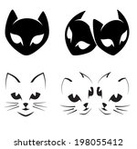 abstract cats icons on white  ...   Shutterstock .eps vector #198055412