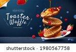 Toaster Waffle Ad On Blue...