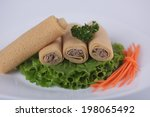 pancakes with meat with parsley ... | Shutterstock . vector #198065492